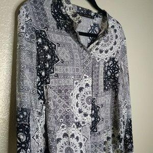 Zara Paisley Long Blouse Black White